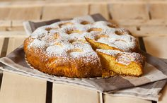 Cake with corn flour and apricots in syrup