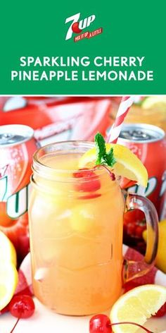 Sparkling Cherry Pineapple Lemonade: Cherry is combined with frozen pineapple juice and lemonade in this refreshing drink! Kid Drinks, Fruity Drinks, Frozen Drinks, Cocktail Drinks, Healthy Drinks, Drink Recipes Nonalcoholic, Alcohol Drink Recipes, Alcoholic Drinks, Beverages