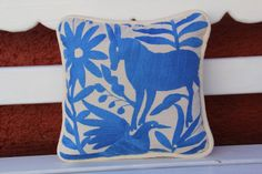 Blue colored  Otomi Pillow Sham-Ready to ship by CasaOtomi on Etsy $109