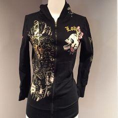 Ed Hardy Black Graphic Hoodie Jacket