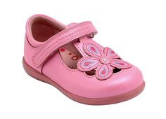 April - pink leather casual girls shoes with floral design.