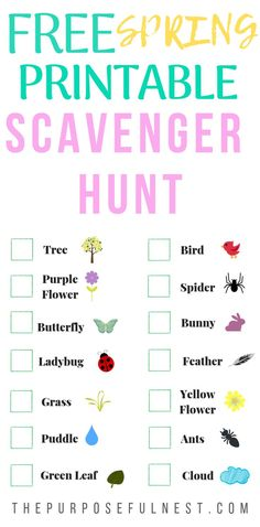 Kids and preschoolers will love this outdoor scavenger hunt. Print this FREE printable and get out for a spring adventure. #spring #preschoolers