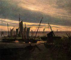 Caspar David Friedrich. Navires dans le port, le soir (Après le coucher du soleil), 1828. 31 × 25 cm, óleo sobre lienzo. Nueva Galería de Maestros , Dresde.