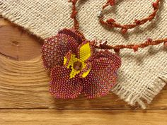 Hadmade beaded pendant. Awesome flower necklace.
