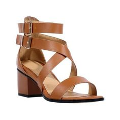 Rome Style Women's Sandals With Chunky Heel and Double Buckle Design ❤ liked on…