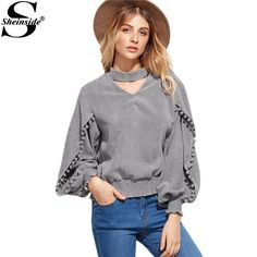 Sheinside Women Tops and Blouses 2016 New Fashion Grey Lantern Sleeve Elastic Hem Pompom Detail Top Women Blouse