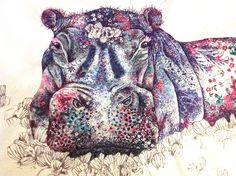 Hippo | Sophie Standing Art | Textile embroidery art from Africa