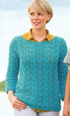 Пуловер с косами и ажурным узором http://hitsovet.ru/pulover-s-kosami-i-azhurnym-uzorom/