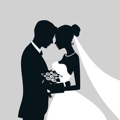 Bride and groom with wedding invitation card vector 08 Bride And Groom Silhouette, Couple Silhouette, Wedding Silhouette, Silhouette Vector, Silhouette Design, Wallpaper Images Hd, Cute Wallpaper Backgrounds, Latest Wallpapers, Wedding Art