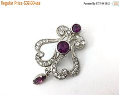 HoLiDaY SaLe / French Antique Edwardian Art Deco Clear and Purple Rhinestone Pave Brooch French Coat of Arms. Fleur di lis Silver Pot Metal by TheOldJunkTrunk