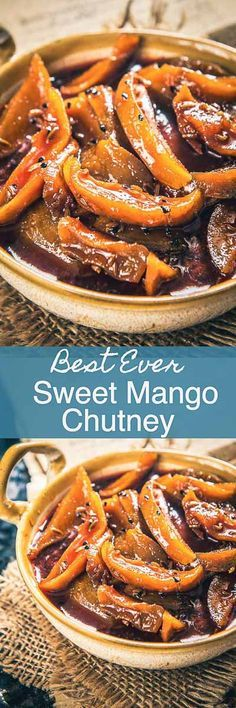 Aam ki Launji is a sweet and sour relish made cooking raw mangoes and jaggery. This recipe is a must make when raw mangoes are in season. Indian Food Recipes, Vegetarian Recipes, Cooking Recipes, Raw Mango Recipes Indian, Sweet Mango Chutney, Tamarind Chutney, Good Food, Yummy Food, South Indian Food