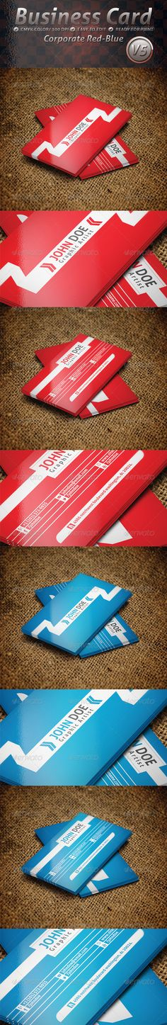 Business Card Corporate Red and Blue V5