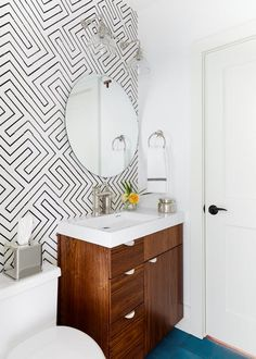 Lake Austin Remodel with cement wall and floor tiles, & custom vanity  Bath  Design Detail  Vignette  Eclectic  Modern  Transitional by J Fisher Interiors
