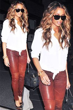 white blouse. skinnies and curls