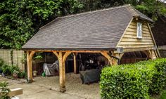 Oak barn carport