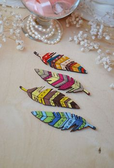 Feather Brooch Wooden Jewellery Pin Brooch by LittleMintyLoft