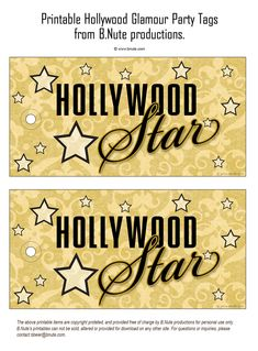 bnute productions: Printable Hollywood Glamour Party - Hollywood Star Tags