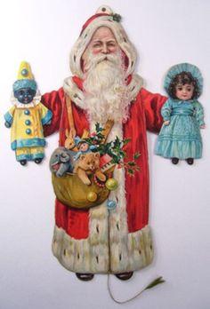 Raphael Tuck SANTA CLAUS Mechanical Paper Toy 1910 DOLLS Teddy Bear CLOWN string (01/29/2013)
