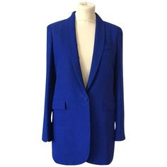 Pre-owned Long silk blazer (44.620 RUB) ❤ liked on Polyvore featuring outerwear, jackets, blazers, blue, silk slip, slim blazer, gucci jacket, slim fit blazer and blue blazers