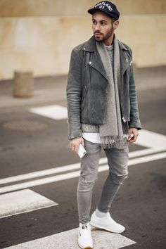 Layers of grey cool jacket for men street style brought to you by Tom Maslanka