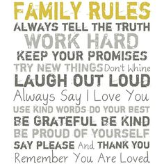 "Family Rules 20"" High Motivational Wall Art ($79) ❤ liked on Polyvore"