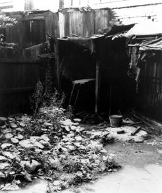 Jack the Ripper: The back yard of the house at 29 Hanbury Street where the mutilated body of Annie Chapman was found on the morning of 8th September 1888.