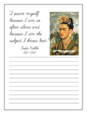 """Kids Learn about Frida Kahlo, Mexican Artist Extraordinaire through books, on-line lessons, and a """"self-portrait"""" art project."""