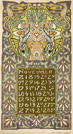 kalender november Algae and sea horses Vintage Calendar, Art Calendar, Art Nouveau, Dutch Artists, Art For Art Sake, Arts And Crafts Movement, Vintage Artwork, Graphic Illustration, American