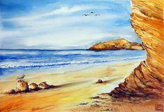 -spiaggia australiana- 35x51 acquerello di Lorenza Pasquali