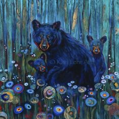 Kari Lehr lives and paints in the beautiful Crowsnest Pass, Alberta, Canada. She pursues her own vision, working primarily in acrylic, often incorporating mixed media. Bear Paintings, Watercolour Paintings, Watercolor, Thing 1, Bear Art, Illustrations, Wildlife Art, Pretty Art, Learn To Paint