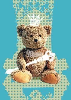 Nursery art printTeddy Bear as a king on the throne blue by VApinx, $19.00