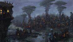 Swamp Goblin Village by Uriak Gallery The 9th Age Fantasy landscape Concept art world Fantasy city