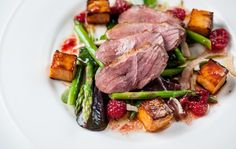 Duck breast salad with raspberry vinaigrette