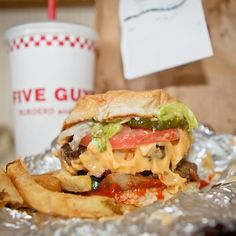 Double Bacon Cheeseburger @ FIve Guys Burgers and Fries
