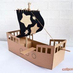 diy speelgoed karton piratenschip Hip Huisje Kinderkamerstyling