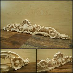 Onlay Carved Wood Shell And Flower Carving Pc