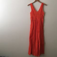 """Orange Anthro maxi Size 4 maxi length measures 50"""" from shoulder to hem, waist measures 12"""" but is stretchy worn once NO TRADES Anthropologie Dresses Maxi"""