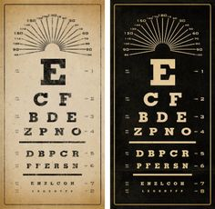 VINTAGE EYE CHART ready to hang 12 x 24 giclee by AlpineGraphics, $49.00