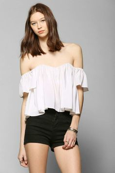 cdab8359d5c Stone Cold Fox Holy Tube Cropped Top  urbanoutfitters Denim Cutoff Shorts