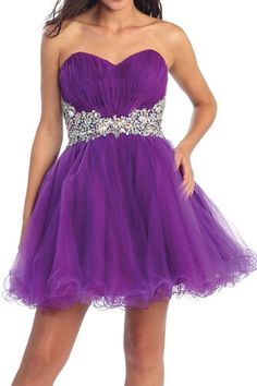 Short purple chiffon prom dresses with crystals,bead sweetheart ...