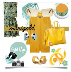 """""""Stay Golden: Dressing in Marigold"""" by kari-c ❤ liked on Polyvore featuring Maison Scotch, Kenneth Cole Reaction, Chanel, Rochas, Seventy Tree, NYX, Marni and marigold"""