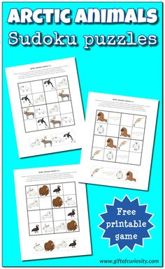 Arctic Animals Sudoku free printables - http://www.giftofcuriosity.com/arctic-animals-sudoku-free-printables/