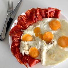Fried egg and organic salame ventricina piccante ... carnivore dinner / Smažená vajíčka a pikantní italský bio salám ... aneb večeře masožravce