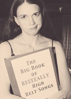 Sutton Foster and her book of reeeeally high belt songs. I love her so much.