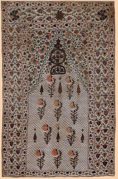 Summer Prayer Rug with Silk Embroidery and Silver thread on cotton. Mughal Dynasty A.D Size 122 x Indian Textile History Antique Indian Embroidery