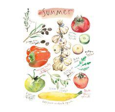 Kitchen art Summer vegetable poster Veggie print Seasonal poster Watercolor painting