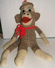 "Vintage Sock Monkey 20"" Hand Made from Heavy Stocking   eBay"