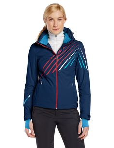 Spyder Women's Pandora Jacket, Harbour/Flirt/Splash, 6. Removable powder skirt with stretch panel. Removable hood. Fully seam taped. Laser cut and welded construction details. Interior stretch cuffs with thumb holes.