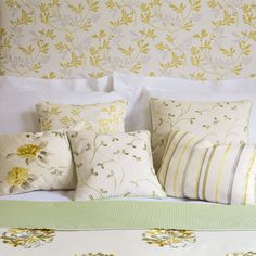 Yellow, Leaf & White - Alba Collection - Jane Churchill Fabrics & Wallpapers