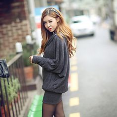 Women's Casual Solid Batwing Sleeve Loose Mini Dress - USD $ 17.99